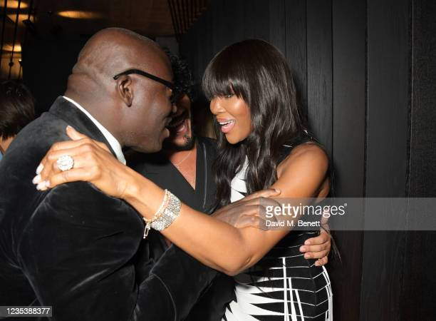 Editor-In-Chief of British Vogue Edward Enninful and Naomi Campbell attend an intimate dinner and party hosted by British Vogue and Tiffany & Co. To...