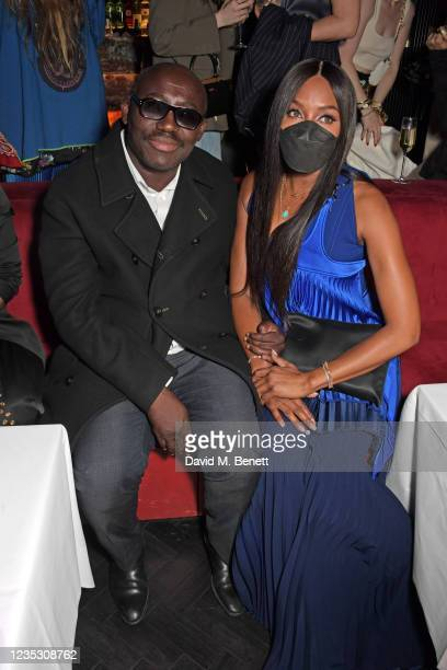 Editor-In-Chief of British Vogue Edward Enninful and Naomi Campbell attend the London Fashion Week 'Opening Night' party at The Windmill, Soho,...