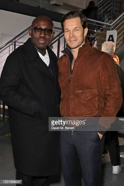 Editor-In-Chief of British Vogue Edward Enninful and Paul Sculfor attend the International Woolmark Prize 19/20 Final during London Fashion Week...