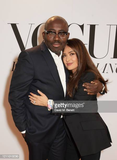 Editor-In-Chief of British Vogue Edward Enninful and Salma Hayek attend British Vogue's Forces For Change during the WOW Women Of The World Festival...