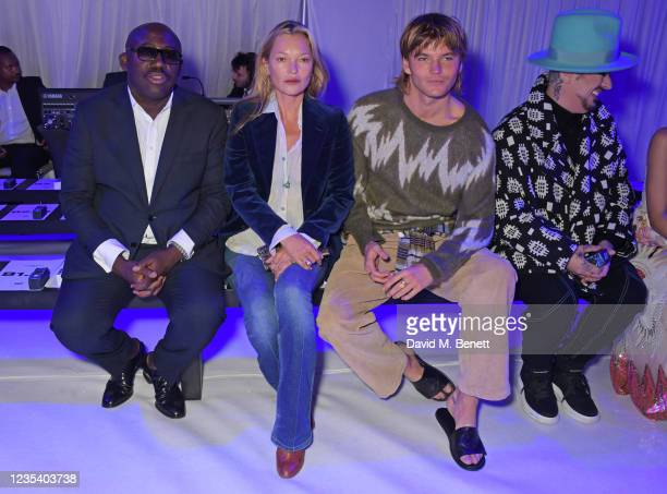 Editor-In-Chief of British Vogue Edward Enninful, Kate Moss, Jordan Barrett and Boy George attend the Richard Quinn SS22 show & cocktail party at The...