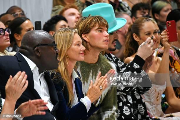 Editor-In-Chief of British Vogue Edward Enninful, Kate Moss, Jordan Barrett, Boy George and Olga Kurylenko attend the Richard Quinn SS22 show &...