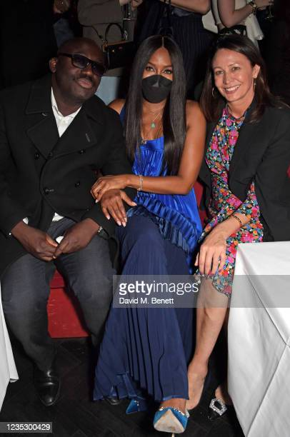 Editor-In-Chief of British Vogue Edward Enninful, Naomi Campbell and CEO of the British Fashion Council Caroline Rush attend the London Fashion Week...