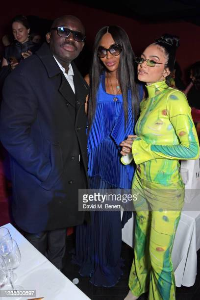 Editor-In-Chief of British Vogue Edward Enninful, Naomi Campbell and Kehlani attend the London Fashion Week 'Opening Night' party at The Windmill,...