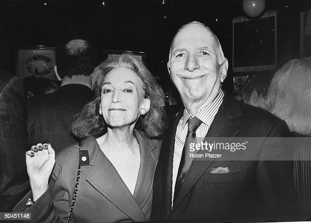 Editor-in-chief of COSMOPOLITAN Helen Gurley Brown w. Husband, producer David Brown at 25th anniversary of Elaine's.