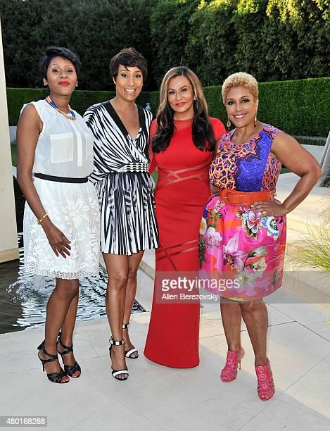 EditorinChief of Ebony Kierna Mayo Ebony CEO Desiree Rogers fashion designer Tina Knowles Lawson and chairman of JPC Linda Johnson Rice attend a...
