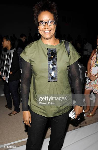 Editorinchief of Ebony magazine Harriet Cole attends Reem Acra Spring 2009 at The Promenade Bryant Park on September 11 2008 in New York City