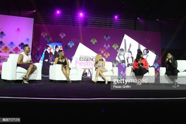 EditorinChief of ESSENCE Magazine Vanessa K De Luca Kandi Burruss Tameka 'Tiny' Harris Tamika Scott and LaTocha Scott of 'Xscape' speak onstage at...