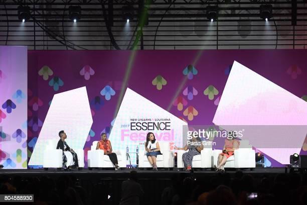 EditorinChief of ESSENCE Magazine Vanessa K De Luca Luvvie Ajayi Angela Rye April Reign and April Ryan speak onstage at the 2017 ESSENCE Festival...