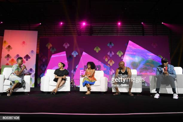 EditorinChief of ESSENCE Magazine Vanessa K De Luca Lynn Whitfield Yara Shahidi John Singleton and Spike Lee speak onstage at the 2017 ESSENCE...
