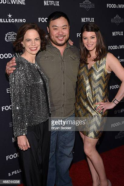 EditorinChief of Food and Wine Magazine Dana Cowin chef David Chang and Gail Simmons attend the 2015 Food And Wine Best New Chef Party at The Edison...