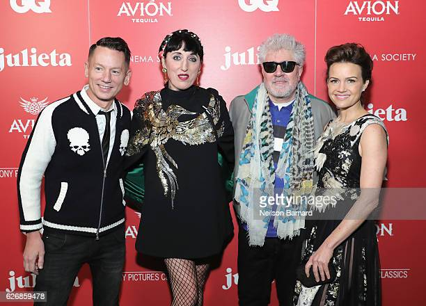 Editorinchief of GQ magazine Jim Nelson Actress Rossy de Palma Director Pedro Almodóvar and actress Carla Gugino attend a screening of Sony Pictures...