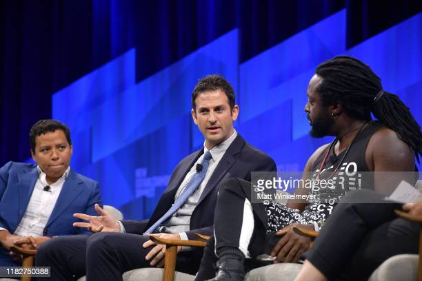 EditorinChief of HuffPost Lydia Polgreen Founder and CEO of Jigsaw Jared Cohen and author Marlon James speak onstage during 'Talkin' About Our...