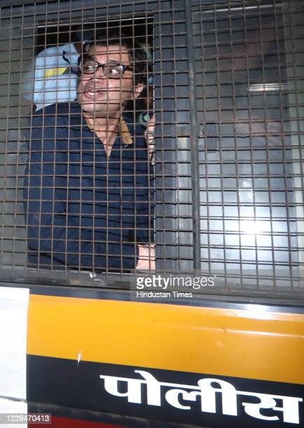 EditorinChief of Republic TV Arnab Goswami in a police van at Alibag Court after Alibag Police picked up him from his Mumbai residence in Alibag on...