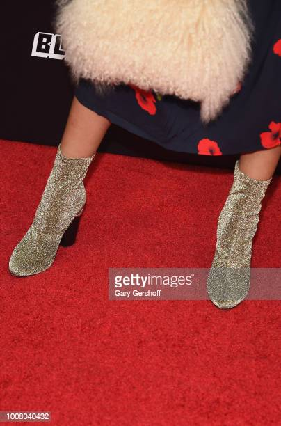 Editorinchief of Teen Vogue Elaine Welteroth boot detail attends the 'BlacKkKlansman' New York premiere at Brooklyn Academy of Music on July 30 2018...