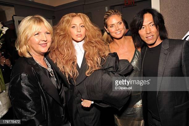 EditorinChief of The Daily Brandusa Niro Lady Gaga model Heidi Klum and Creative Director at Harper's Bazaar Stephen Gan attend The Daily Front Row's...