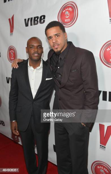 EditorInChief of Vibe Magazine Jermaine Hall and rapper J Cole attend the VIBE Impact Awards presented in partnership with Malibu Red at the...