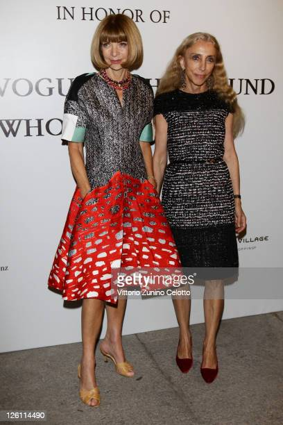 Editorinchief of Vogue America Anna Wintour and Editorinchief of Vogue Italy Franca Sozzani attend The Vogue Fashion Fund Who Is On Next party dring...