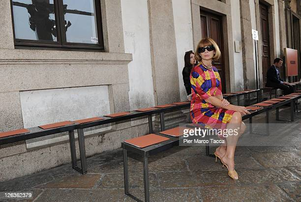 Editorinchief of Vogue America Anna Wintour attends the Missoni Spring/Summer 2012 fashion show as part Milan Womenswear Fashion Week on September 25...