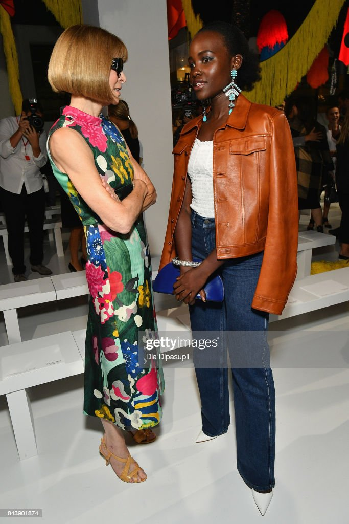 Editor-in-Chief of Vogue Anna Wintour and actress Lupita Nyong'o attend the Calvin Klein Collection fashion show during New York Fashion Week on September 7, 2017 in New York City.
