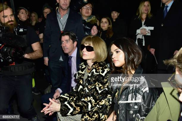Editorinchief of Vogue Anna Wintour and actress Selena Gomez attend Coach FW17 Show at Pier 76 on February 14 2017 in New York City