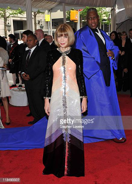 EditorinChief of Vogue Anna Wintour and Andre Leon Talley attend the 'Alexander McQueen Savage Beauty' Costume Institute Gala at The Metropolitan...