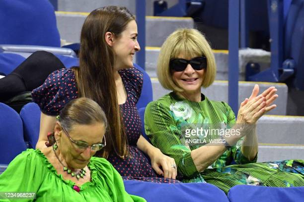 Editor-in-Chief of Vogue Anna Wintour and daughter Bee Shaffer attend the 2021 US Open Tennis tournament men's singles first round match between...