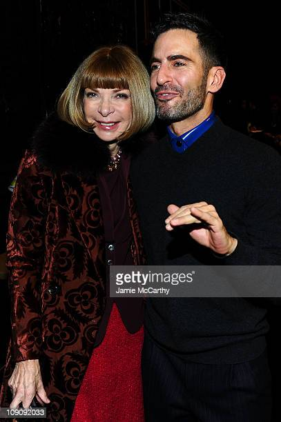 Editor-in-Chief of Vogue Anna Wintour and designer Marc Jacobs backstage at the Marc Jacobs Fall 2011 Collection at N.Y. State Armory on February 14,...