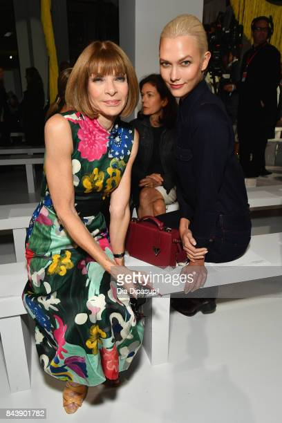 EditorinChief of Vogue Anna Wintour and model Karlie Kloss attend the Calvin Klein Collection fashion show during New York Fashion Week on September...