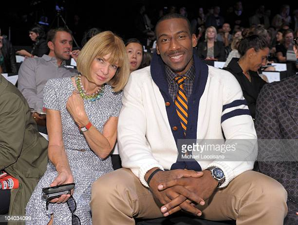 EditorinChief of Vogue Anna Wintour and NBA player Amare Stoudemire attend the Tommy Hilfiger Spring 2011 fashion show during MercedesBenz Fashion...