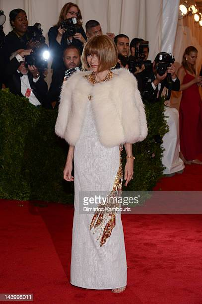 EditorinChief of Vogue Anna Wintour attends the Schiaparelli And Prada Impossible Conversations Costume Institute Gala at the Metropolitan Museum of...
