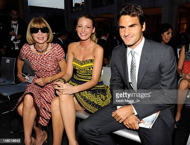 EditorInChief of Vogue Anna Wintour Blake Lively and Roger Federer attends Fashion's Night Out The Show at Lincoln Center on September 7 2010 in New...