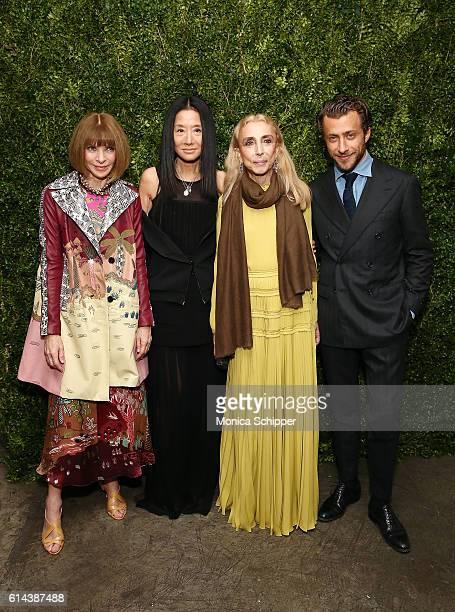 EditorInChief of Vogue Anna Wintour fashion designer Vera Wang EditorInChief of Italian Vogue Franca Sozzani and director Francesco Carrozzini attend...