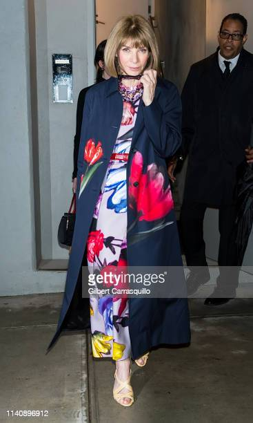 Editorinchief of Vogue Anna Wintour is seen leaving the Prada Resort 2020 fashion show at Prada Headquarters on May 02 2019 in New York City
