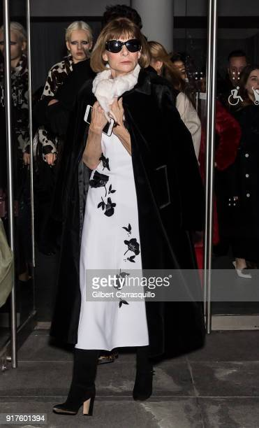 Editorinchief of Vogue Dame Anna Wintour is seen leaving the Carolina Herrera fashion show during New York Fashion Week at the Museum of Modern Art...