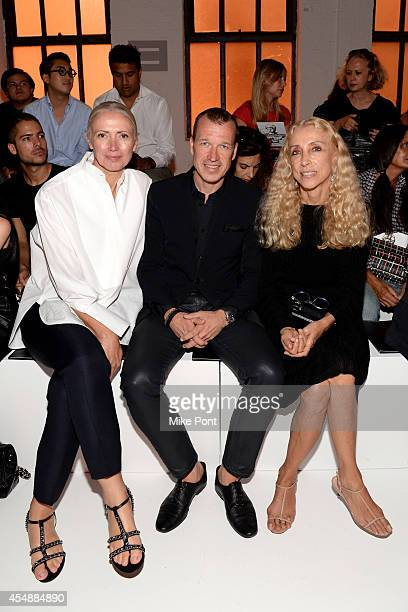Editorinchief of Vogue Deutsch Christiane Arp Porsche Design CEO Juergen Gessler and editorinchief of Vogue Italia Franca Sozzani attend the Porsche...