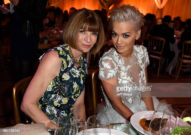 EditorinChief of 'Vogue' magazine Anna Wintour and recording artist Rita Ora attend The Weinstein Company's Academy Awards Nominees Dinner in...