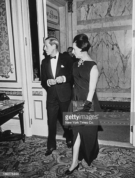 Editorinchief of Vogue magazine Diana Vreeland at a dinner given by Vogue for Marylin Bender of Women's News at the Plaza Hotel New York City 15th...