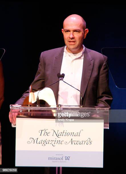 Editorinchief of Wired Chris Anderson accepts an award at the 45th Annual National Magazine Awards at Alice Tully Hall Lincoln Center on April 22...