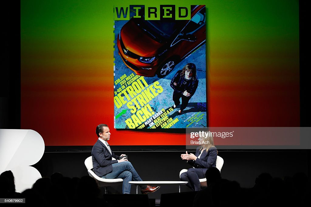 Editor-in-Chief of WIRED Scott Dadich speaks with Chairman and CEO of GM Mary Barra on stage during the 2016 Wired Business Conference on June 16, 2016 in New York City.