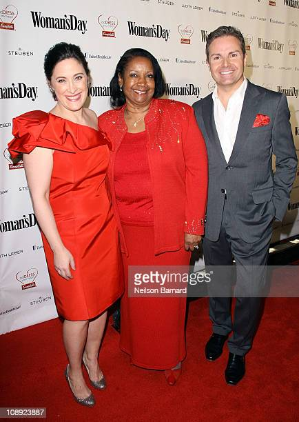 EditorinChief of Woman's Day magazine Elizabeth Mayhew recipient of the Heart Healthy Award Delores E Covington and Chief Brand Officer of Woman's...