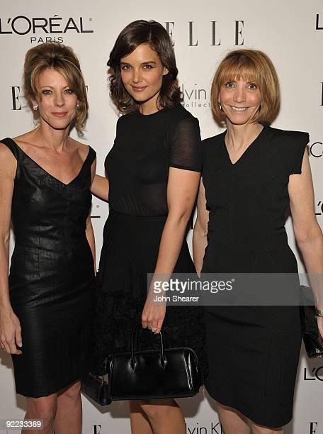 EditorInChief Roberta Myers actress Katie Holmes and ELLE Cheif Brand Officer Carol Smith arrive at the 16th Annual ELLE Women in Hollywood Tribute...