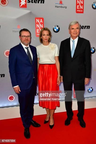 Editorinchief Stern Magazine Christian Krug CEO Gruner Jahr Julia Jaekel and Michael Otto of OTTO Group attend the Nannen Award 2017 on April 27 2017...
