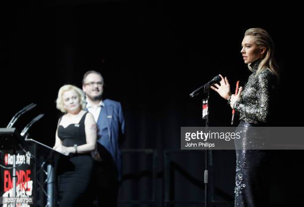 EditorinChief Terri White Associate Editor Chris Hewitt and actress Vanessa Kirby winner of the award for Best TV Series for 'The Crown' on stage...