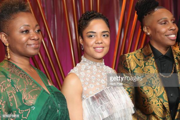 ESSENCE EditorinChief Vanessa K De Luca Honorees Tessa Thompson and Lena Waithe attend the 2018 Essence Black Women In Hollywood Oscars Luncheon at...