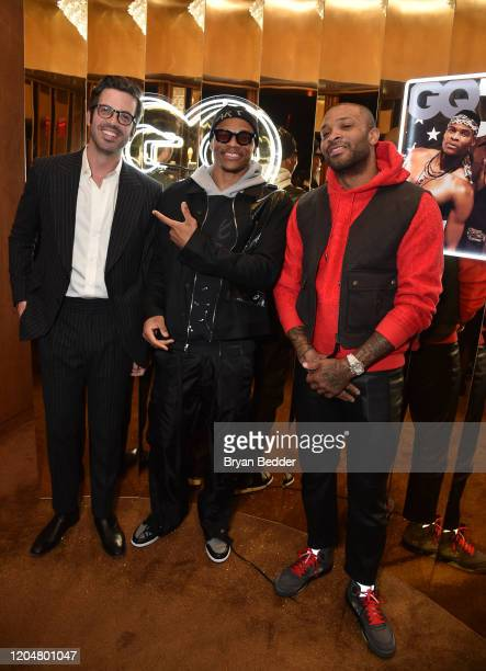 EditorInChief Will Welch Russell Westbrook and PJ Tucker attend the GQ March Cover Party at The Standard Highline on March 01 2020 in New York City