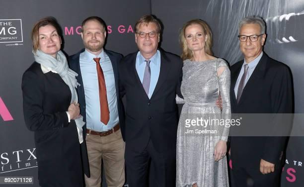 EditorJosh Schaeffer writer/director Aaron Sorkin cinematographer Charlotte Bruus Christensen editor Alan Baumgarten attends the 'Molly's Game' New...