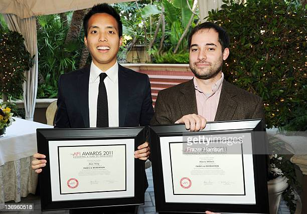 Editors Alan Yang and Harris Wittels poses with their Year of Excellence Award for Parks and Recreation during the 12th Annual AFI Awards held at the...