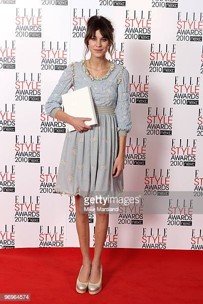 Editors Choice winner Alexa Chung poses in the Winner's room at the ELLE Style Awards 2010 at the Grand Connaught Rooms on February 22, 2010 in...