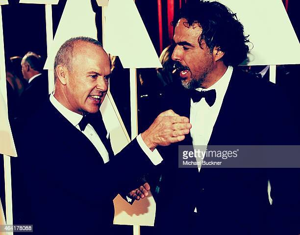 Editors Note Actor Michael Keaton and director Alejandro Gonzalez Innaritu arrives at the 87th Annual Academy Awards at Hollywood Highland Center on...